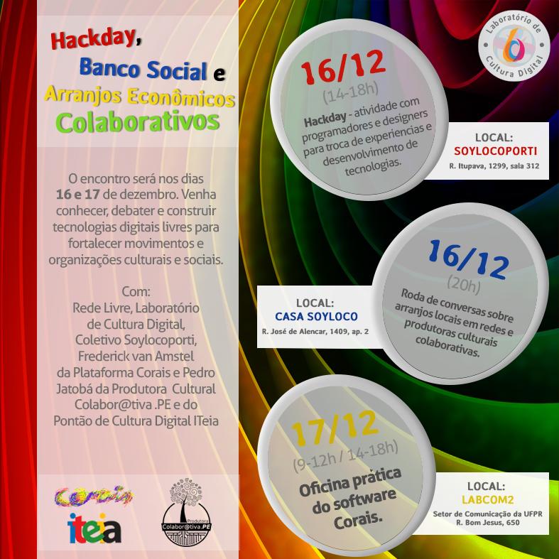 Lab promove evento Hackday, banco social e arranjos econômicos colaborativos